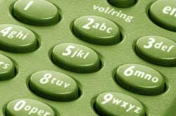 Telephone buttons on a green phone