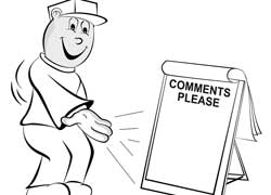 Cartoon man pointing to a Comments Please board