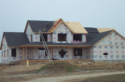 Construction on a new two-story house