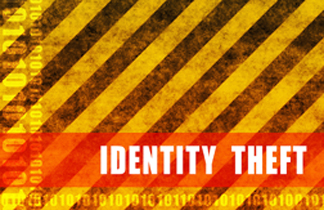 Identity Theft caution tape which is yellow and black striped