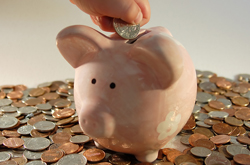 Photo of a pink piggy bank with coins for savings
