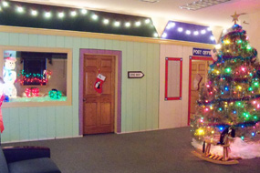 Photo of inside the Bank decorated for Christmas for our Santa Day event