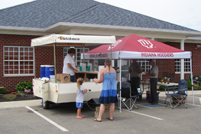 Photo of a lemonade stand outside the Bank on a sunny day