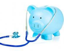 blue pig with medical equipment