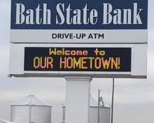 bank sign in west college corner