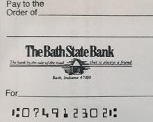 photo of a check with the routing number
